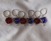 Red Moon and Blue Kitty Stitch Markers