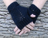Black Hand Knit Lace Panel Fingerless Mitts Texting Gloves vegan friendly Ready to Ship