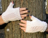 White Hand Knit Soft Lace Panel Fingerless Mitts Texting Gloves Winter Wedding Ready to Ship
