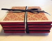 Damask Red Coasters