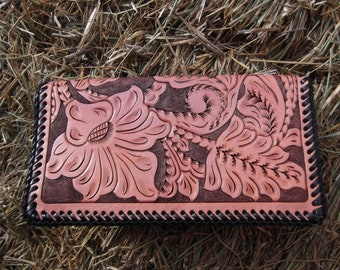 Handmade Leather Checkbook or Credit Card Wallet