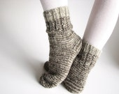 Hand Knitted Socks - Made of Hand Spun Undyed Wool Yarn - 100% Natural Organic Warm Winter Clothing