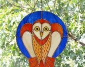 Stained Glass  - Mystical Owl, Barn Owl, Signed Handmade Original