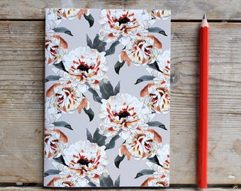 Pretty Peony Unlined Notebook