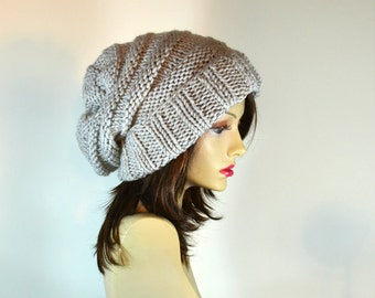 Slouchy Hat Womens Hat Hand Knit Slouch Beanie