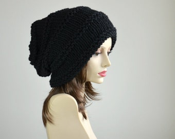 Winter Hat - Knit Hat - Slouchy Beanie - Beanie -  Black Hat - Beret - Slouchy Hat - Women Hat - Oversized Hat - Chunky Knit