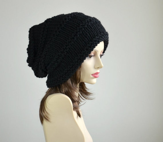 winter hat knit hat slouchy beanie beanie black hat