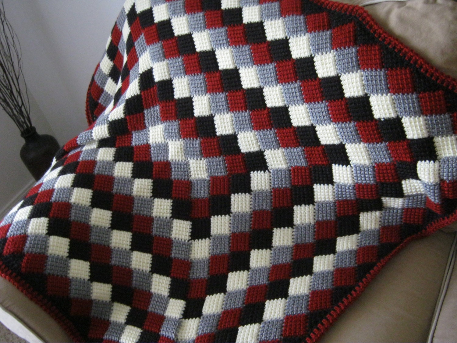 Red White Grey Black Crochet Baby Blanket Afghan Made To