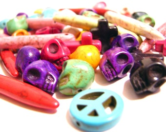 20 Bead GRAB BAG - Multi-Colored Dyed Howlite Beads, Charms, Spikes, and Spacers - 8mm - 45mm