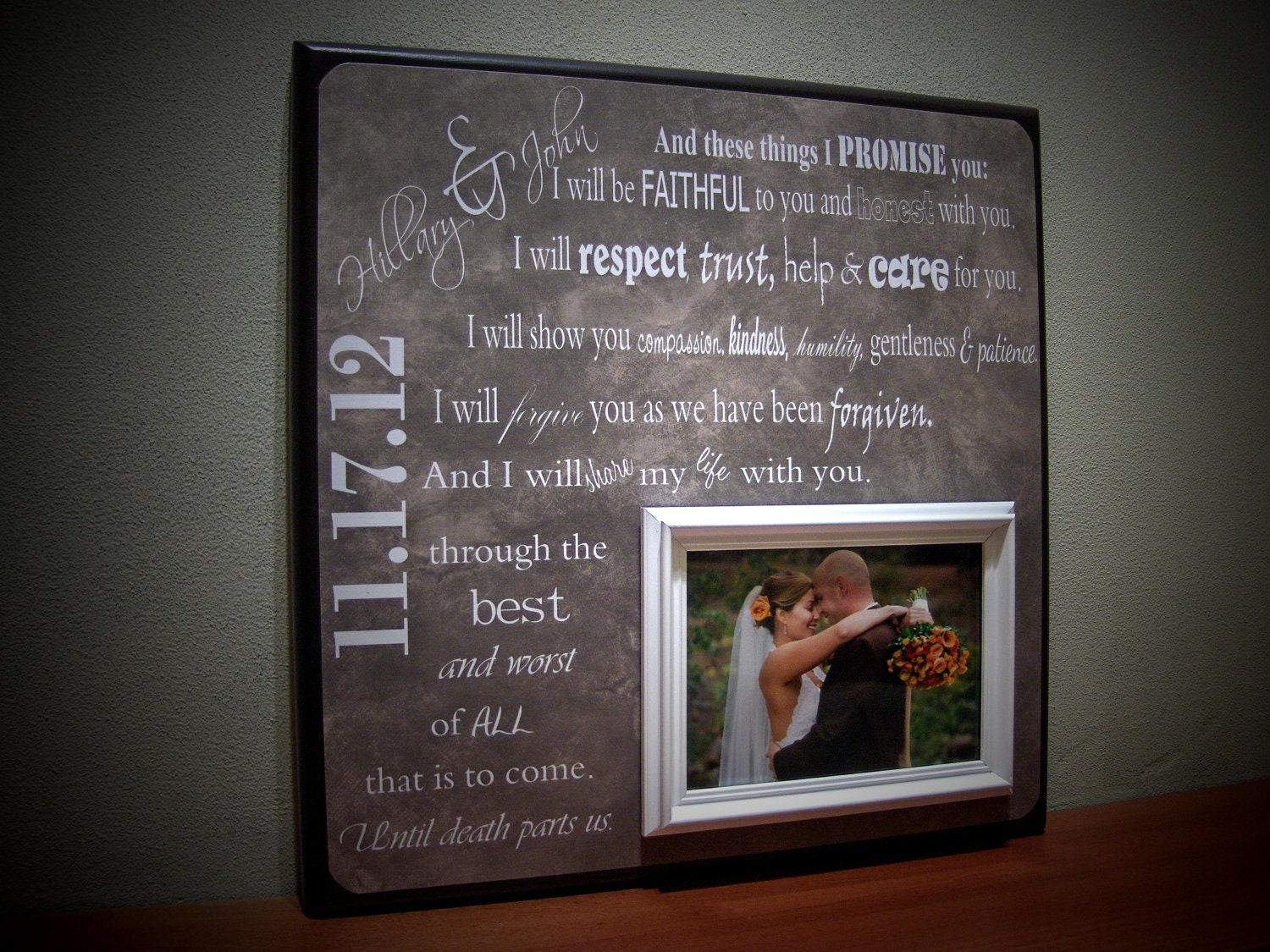 Wedding Vows Gift: Wedding Vows Personalized Wedding Frame Bride By