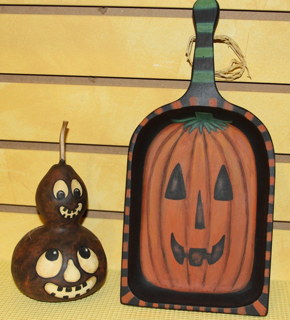 Two Halloween Folk Art Hand Painted Primitive Items for One Price -  Pumpkin Tray and Gourd
