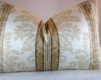 Decorative Damask Striped Lumbar Pillow Accent Lumbar 12x19 Pillow Cover