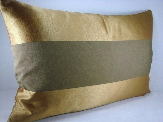 Modern Family Pillow Stripe : Stripe Bronze Decorative Modern Lumbar Pillow Cover Accent