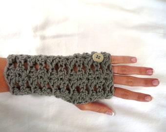 Wrist Warmers Fingerless Gloves Pewter