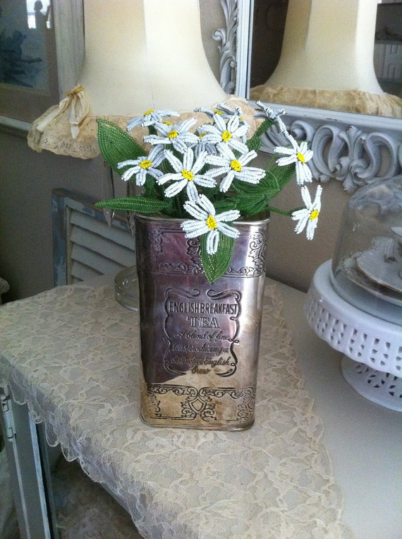 Reserved for Claralie - Vintage Beaded Flower Daisy Bouquet - Shabby Chic Cottage - Handmade French Glass Beads