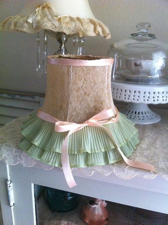 Vintage Lamp Shade Romantic - Boudoir French Shabby Cottage Farmhouse Prairie Chic - Table lamp