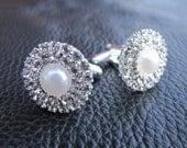 Men's cuff links, Pearl rhinestone cuff links for grooms