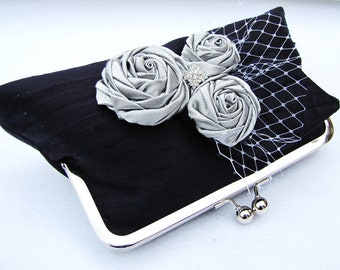 Black silk clutch with silver rosettes and rhinestone, clutch for the bride, wedding purse - Black dupioni silk with silver roses