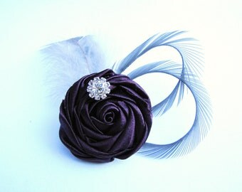 Purple bridesmaids flower fascinator,  wedding hair piece - Eggplant rosette with grey goose feathers and rhinestone - Patina