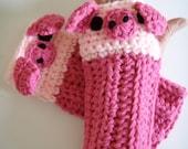Crochet Piggy Pig Fingerless Gloves Pattern PDF