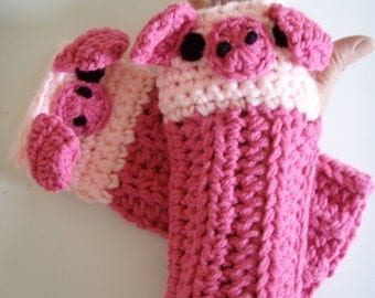 Crochet Piggy Pig Fingerless Gloves Pattern PDF