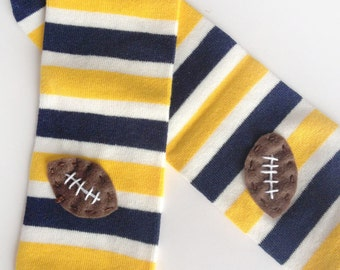 Football Baby Leg Warmers: navy blue, gold yellow, white stripes with footballs