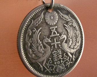 ANTIQUE japan COIN NECKLACE jewelry . pendant. silver . bird phoenix japanese. chrysanthemum silver. 50 sen . asian. mens No.001126