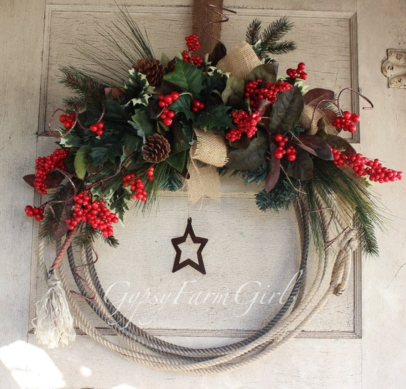 Cowboy Christmas Decor: Saved For Nicole Western Lariat Rope Christmas Wreath With