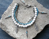 Charm bracelet - turquoise and white multi strand bracelet with feather charms. handmade. one of a kind. boho summer