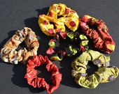 Colorful patterned scrunchies