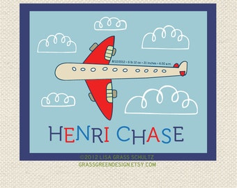 Custom Airplane Nursery Baby Name And Info Print 8x10