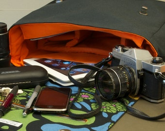 Messenger Bag with shoulder strap - fabric satchel for Tablet, DSLR Camera, eReader, Laptop