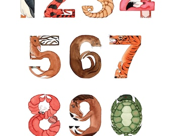 A to Zoo Animal Alphabet Numbers Poster 14X20
