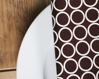 Eco-Friendly Large Dinner Size Napkins - Warm Brown with White circles - Set of 4 Reversible Cloth