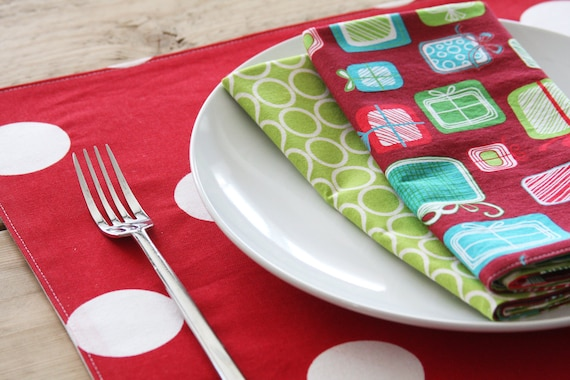 RESERVED for JENNIFER - Fabric Placemats - Red with White Dots- Set of 4