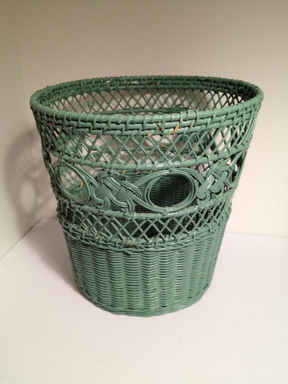 Vintage green painted wicker waste basket by vintagefunkhouser - Wicker trash basket ...