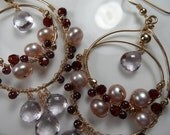 RESERVED Gold pearls garnet pink amethysts dangling earrings with 14kt yellow gold fill