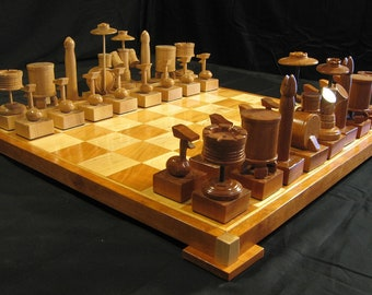 Chess Set Custom Cherry Drum Chess Set Handcarved on etsy custom chess sets, custom chess pieces, and custom chess boards