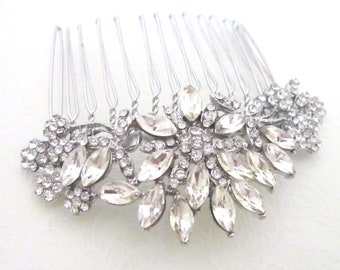 Sparkling Floral Crystal Hair Comb - Ideal for Brides and Bridesmaids