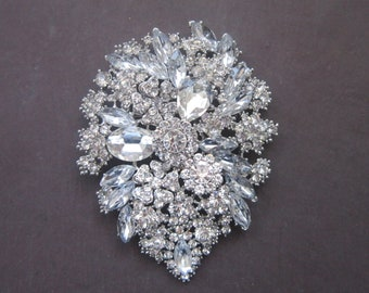 Crystal Brooch. Bridal Wedding Dress Brooch. Large 11 x 8 cm brooch