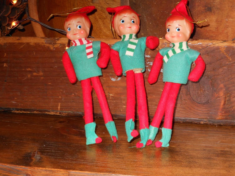 Vintage 1950's Pixie Elf Christmas Ornaments by primmpassion
