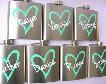 7 Bridesmaid flask, 6 ounce, stainless steel personalized flask.  Bridesmaid and Maid of honor gift.  Mint and white heart design