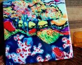 Trivet 25  -  Frogs Awaken in Spring - Ceramic tile - Woodland - clouds
