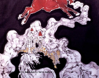 "Red Bull and Unicorn - 8 x 10 batik fabric swatches from original batik - ""The Last Unicorn"""