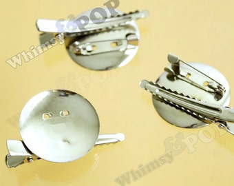 20 - Silver Brooch Pin or Barrettes Hair Alligator Clips, Hair Accessory Blanks, 45mm 30mm (C1-35)