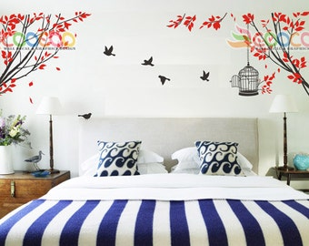 Tree Wall Decal Branches Birds Nursery Vinyl Wall Sticker Tree and Birds Spring Tree 2