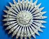 Antique 1920's Silver Pot Metal Sunburst Art Nouveau Crystal Belt Buckle