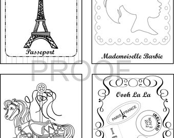 Set of 12 France inspired Birthday Coloring Books