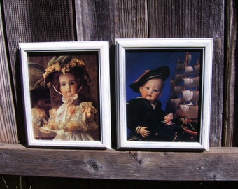 Vintage Antique Boy Girl Doll Wall Pictures