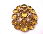 Vintage Dress Clip Yellow Stones Costume Jewelry B2208